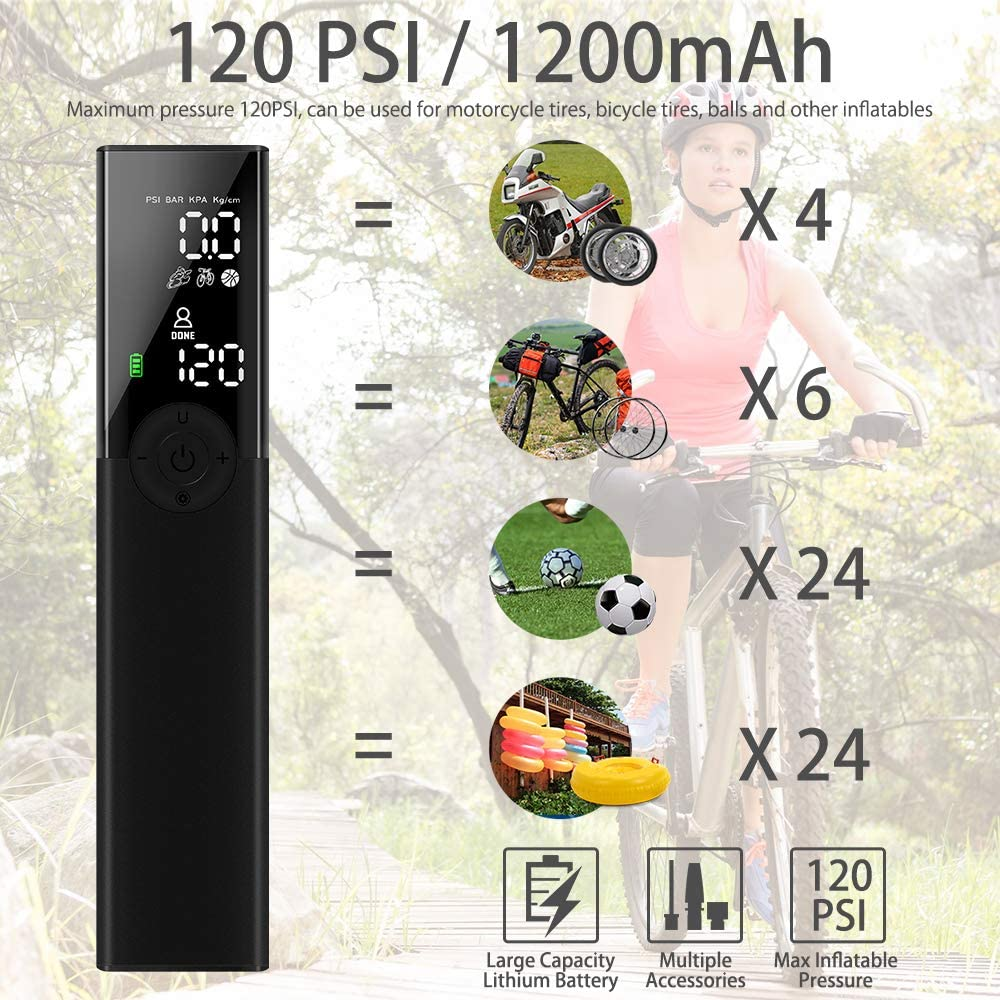 120PSI Rechargeable Auto Air Pump for Car Bicycle Tires and Other Inflatables Electric Bike Tire Pump with Digital Pressure Gauge VEEAPE Portable Air Compressor Tire Inflator