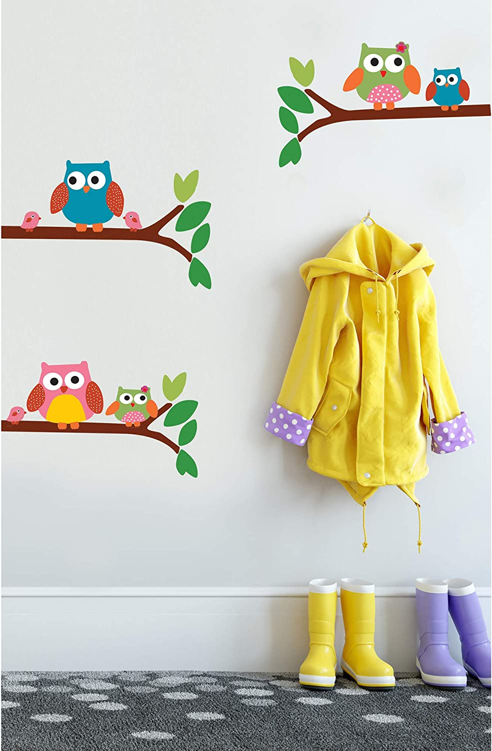 Wallies Vinyl Wall Decals Peel And Stick Owl Wall Stickers For Girls Bedroom Or Nursery 5 Pc Home Kitchen