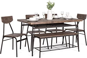 Best Choice Products 6-Piece 55in Wooden Modern Dining Set for Home, Kitchen, Dining Room w/Storage Racks, Rectangular Table, Bench, 4 Chairs, Steel Frame, Brown