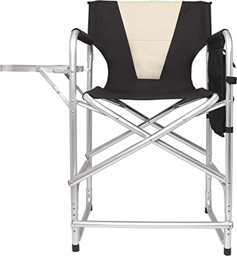 Tall Directors Folding Chair Bar Height Director Camping Chair Lightweight Aluminum Frame Makeup Artist Chair with Armrest Side Table, Storage Bag, Footrest-Supports 300lbs, 24 Seat Height