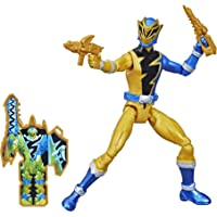 Power Rangers Dino Fury Gold Ranger 6-Inch Action Figure Toy Inspired by TV Show with Dino Fury Key and Dino-Themed…