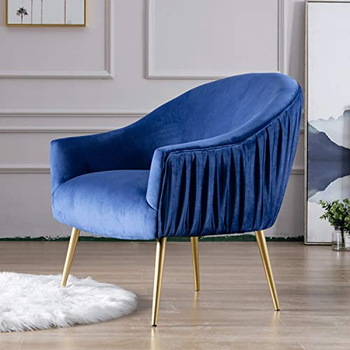 Guyou Modern Upholstered Velvet Accent Chair Gold Arm Chair Comfy Single Sofa Pleated Back for Bedroom Living Room Club Royal Blue