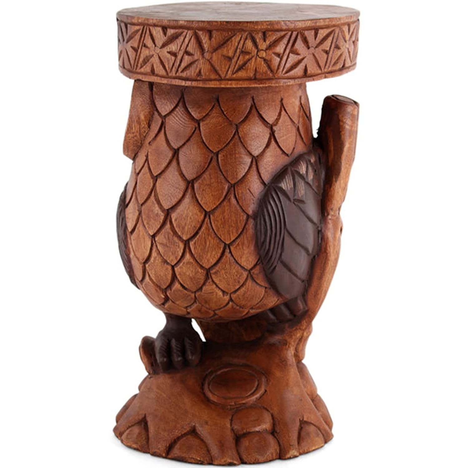 stool owl p carved wooden asp
