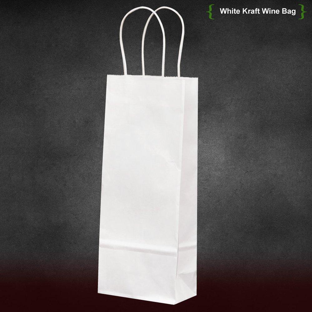 5.25''x3.25''x13'' 50 pcs Bagsoure White Kraft Paper Wine Bags Merchandise Party Bags Gift Bags Retail Bags Craft Bags Brown Bag Natural Bag