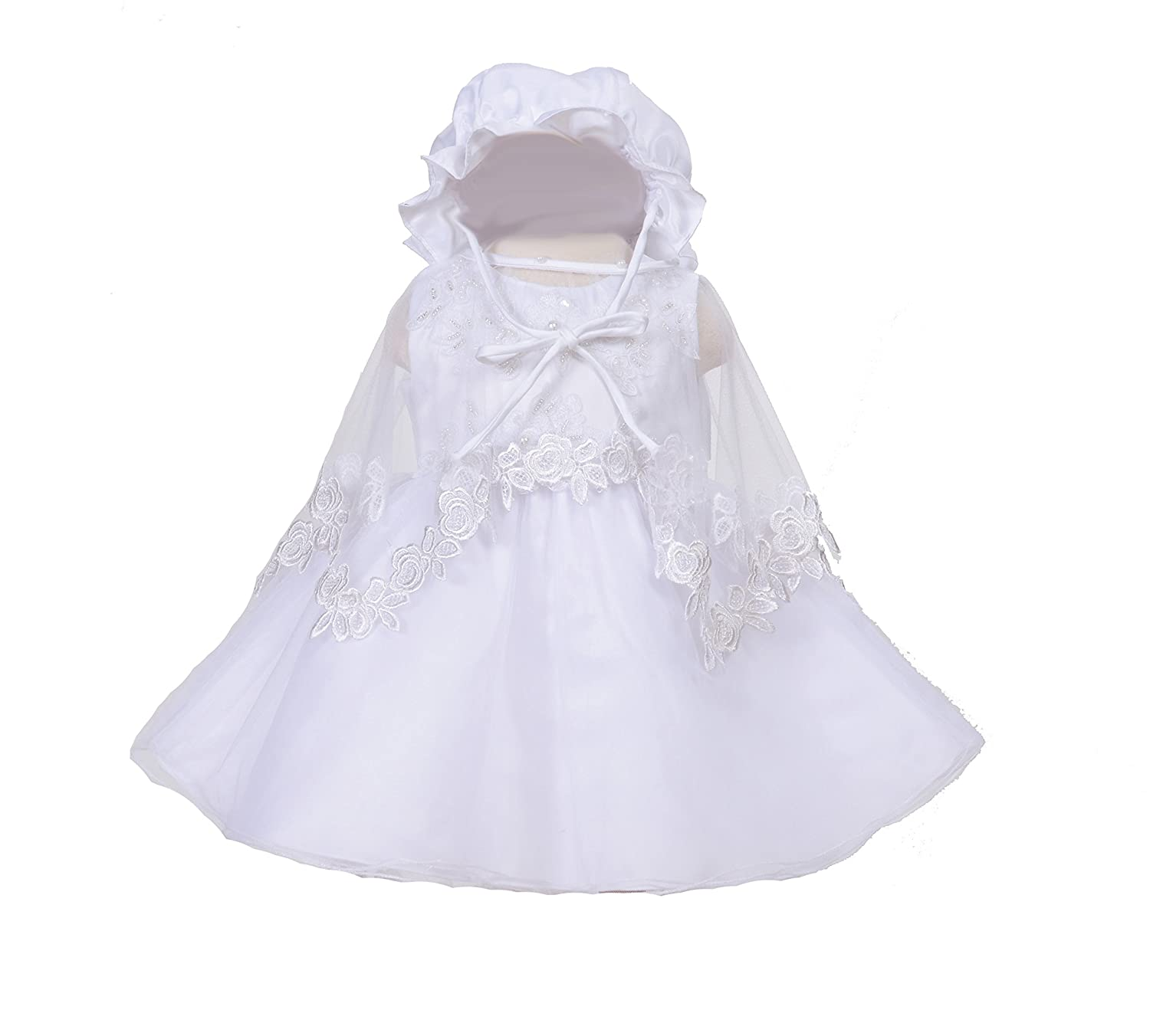 Cinda Girls Christening Gown with Bonnet and Cape