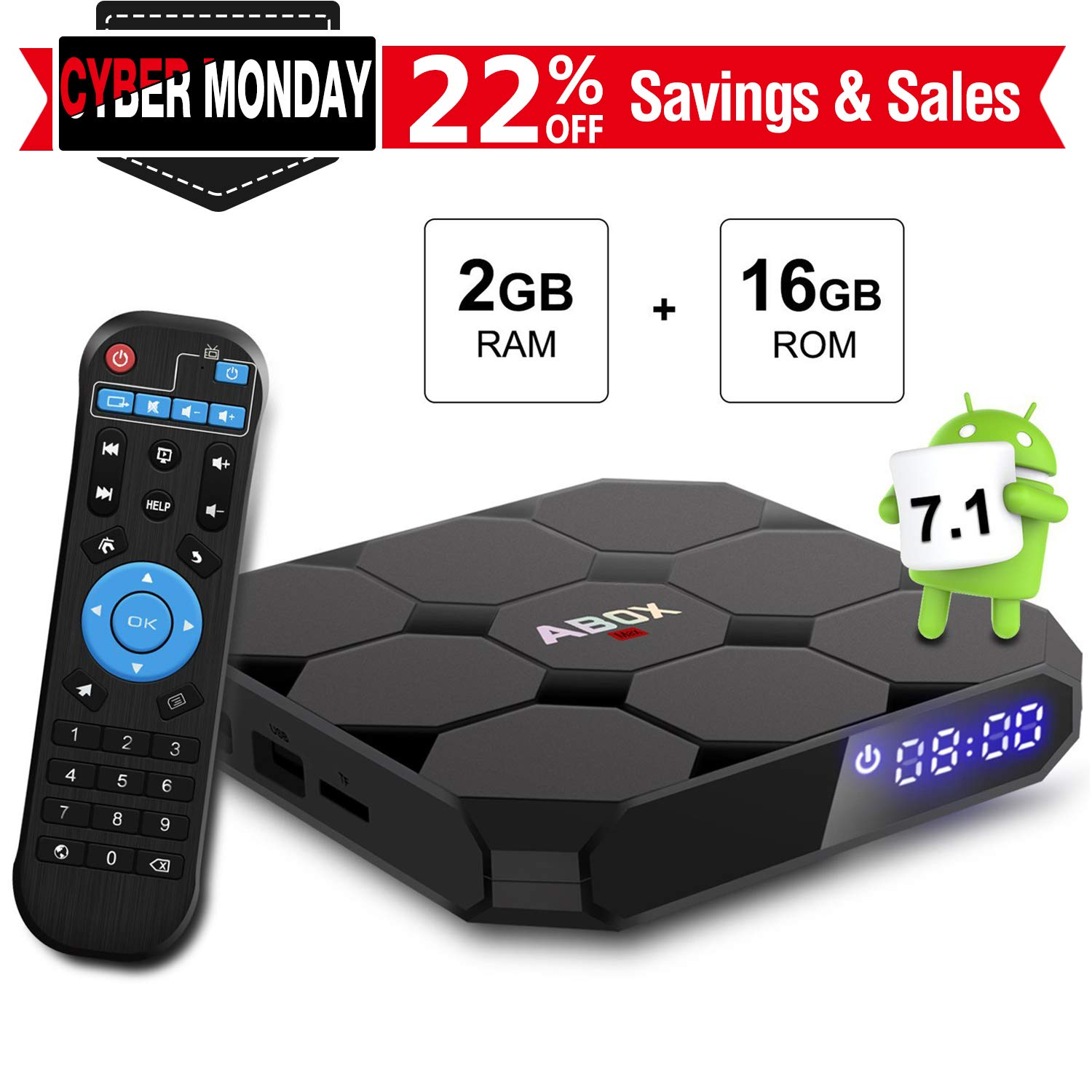 Android 7.1 TV BOX, GooBang Doo ABOX A1 MAX 2GB RAM 16GB ROM Amlogic Quad Core A53 processor 64 bits Box05