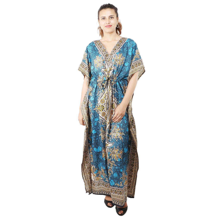 f236cdefca Floral Print Long Caftan Tunic Dress Maxi Kaftan Plus Size Cover up Dresses  for Women Aqua at Amazon Women's Clothing store: