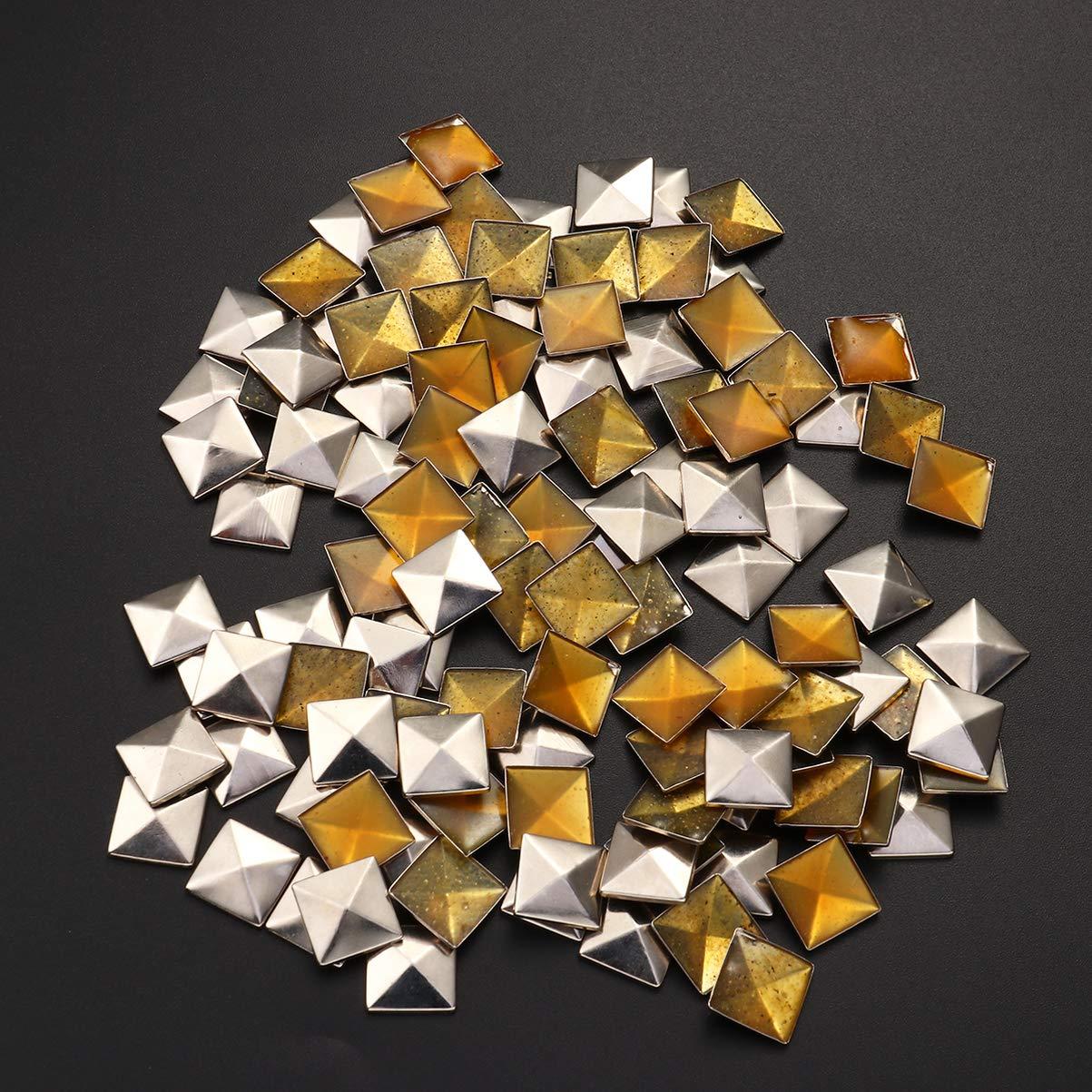 Healifty 100pcs tachuelas planas remaches de cuero tachuelas pegamento en tachuelas para bolsos artesanales ropa cintur/ón zapatos bronce