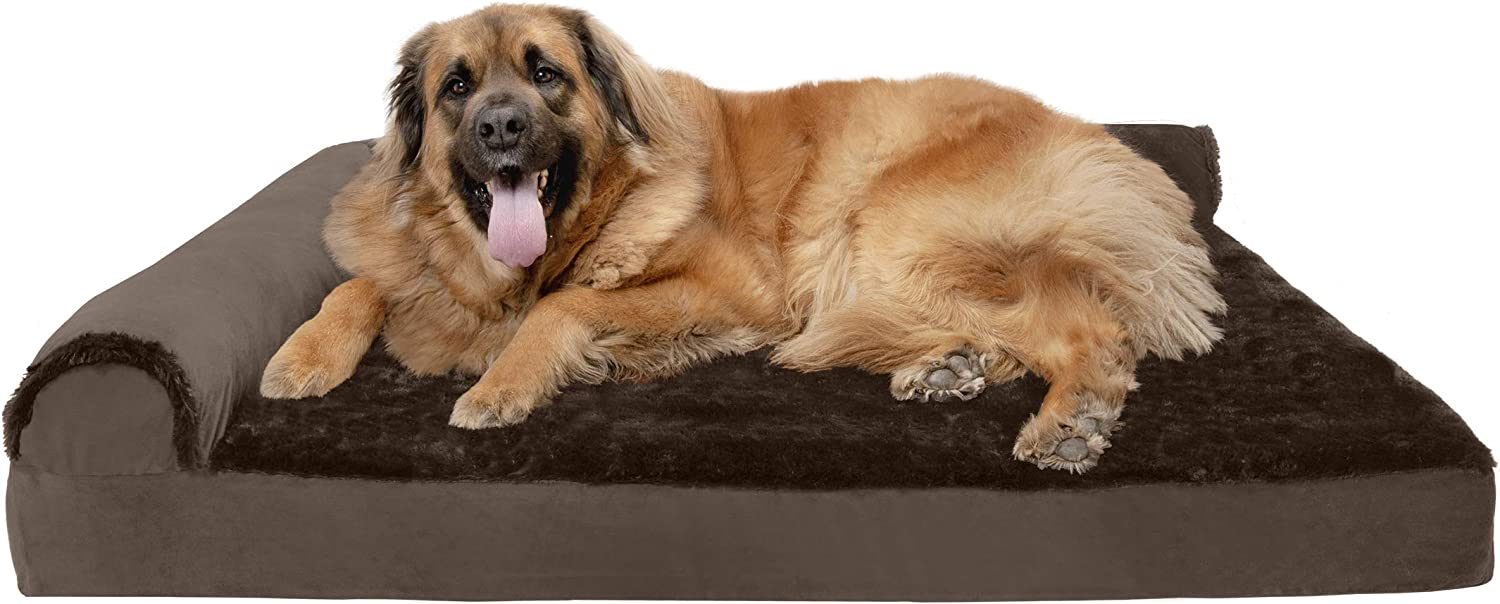 Furhaven Pet Dog Bed - Deluxe Orthopedic Plush Faux Fur and Velvet L Shaped Chaise Lounge Living Room Corner Couch Pet Bed with Removable Cover for Dogs and Cats, Sable Brown, Jumbo Plus : Pet Supplies