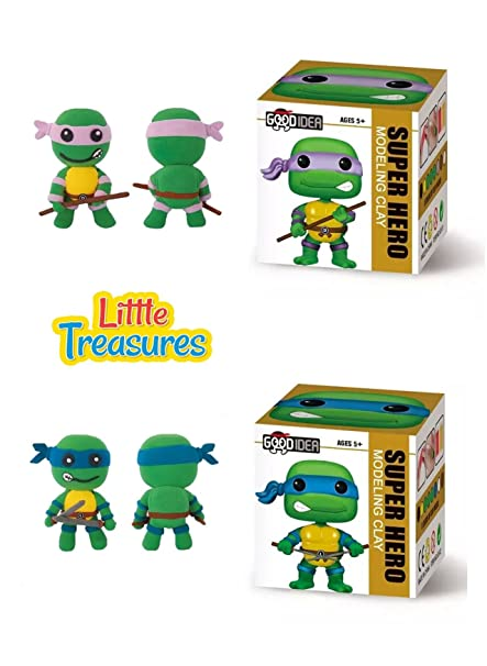 Turtle Ninjas Set of 2 Clay modeling and sculpting DIY play-set – create your favorite cartoon Hero characters with molding play-dough kit – a fun ...
