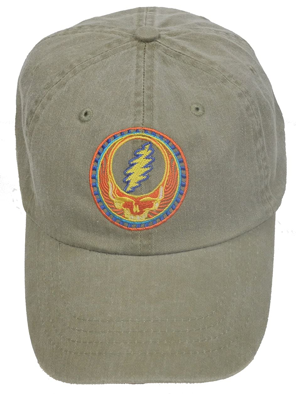 Licensed Grateful Dead Orange Sunshine Embroidered Tan Cap by Dye The Sky DTS-ORGSUNTAN-HAT
