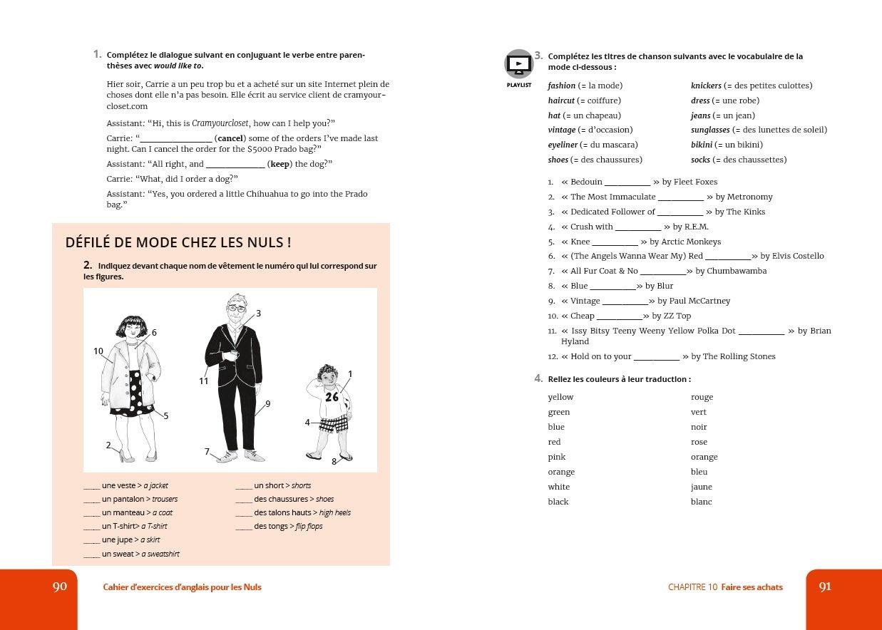 Amazon Fr Cahier D Exercices Anglais Debutant Faux Debutant Pour Les Nuls Grand Format Costello Claire Livres