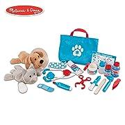 Melissa & Doug Examine & Treat Pet Vet Play Set (Animal & People Play Sets, Helps Children Develop Empathy, 24 Pieces, 10.5  H x 13.5  W x 3.5  L)