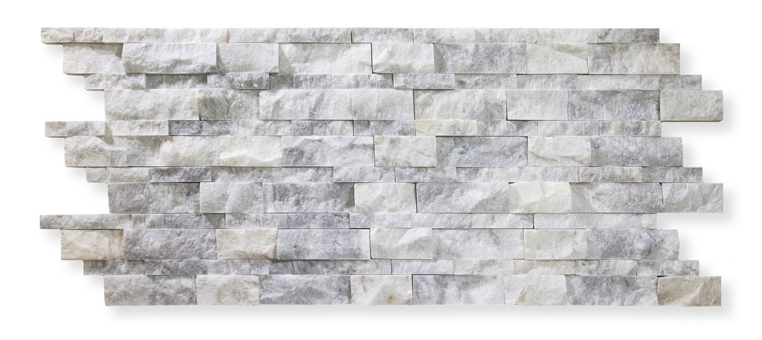 Bianco Venato Marble 6 X 20 Stacked Ledger Wall Panel Tile, Split-faced (25 PCS.)