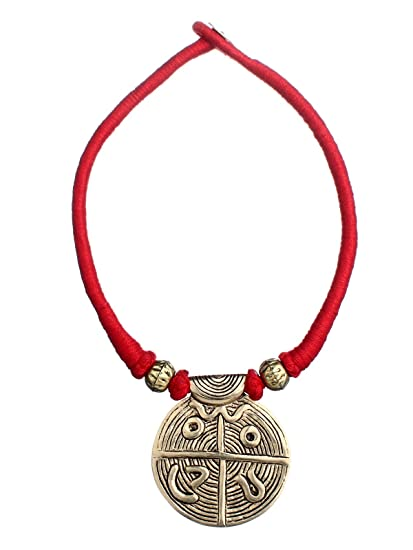 Tribes India Red Strand Thread Necklace with Brass Pendant for Women