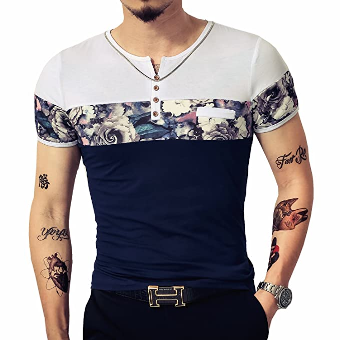 4ccc6b213 LOGEEYAR Men's Casual Slim Fit Long Sleeve Color Block Printing Henley T- Shirts: Amazon.ca: Clothing & Accessories