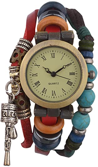 Habors Red Faux Leather Multi-Strand watch bracelet for Women/girls <span at amazon