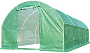 Quictent 2 Mesh Doors 20 Stakes Heavy Duty 20 x 10 x 6.6 ft Portable Greenhouse Large Walk-in Green Garden Hot House + 2 Doors Flow-Through Ventilation