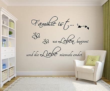 Adesivo da parete soggiorno la famiglia è dove la vita inizia e l ...