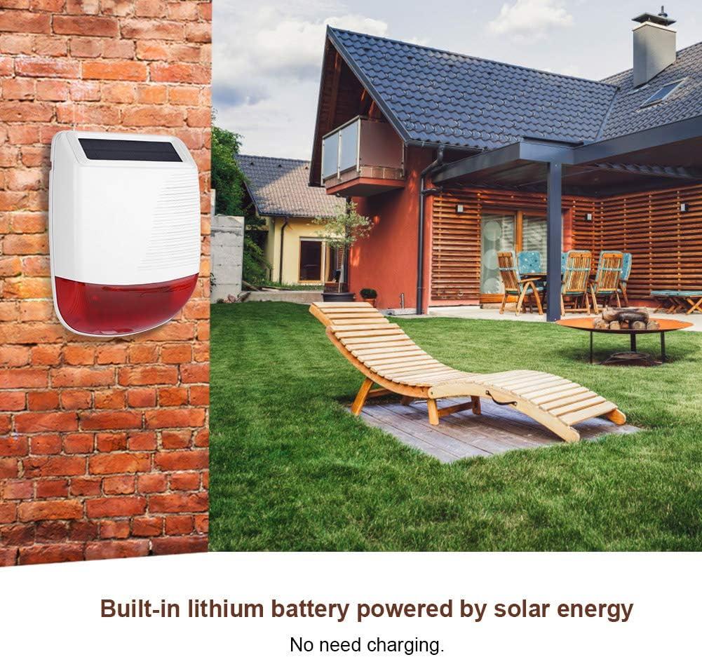 a 433 MHz a Prueba de Agua para Sistema de Alarma gsm Sirena de luz Solar Tosuny Sirena inal/ámbrica de 110dB Sirena de Alarma de luz Solar alimentada con energ/ía Solar