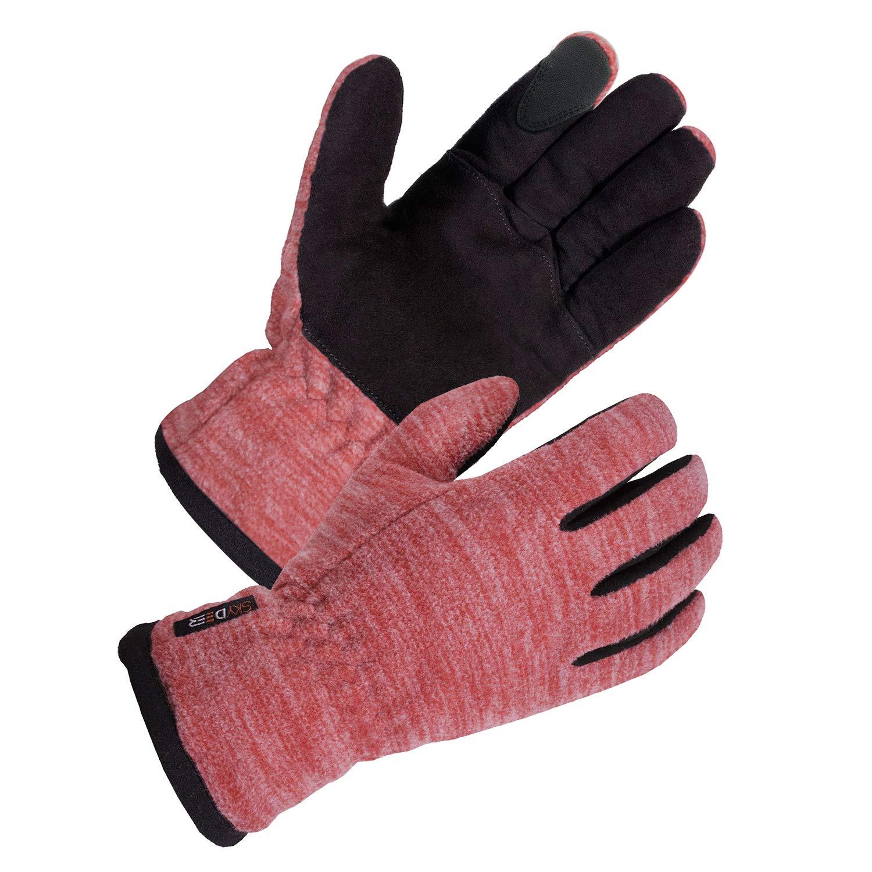 SKYDEER Women's Winter Gloves with Soft Deerskin Suede Leather and Warm Windproof Polar Fleece (SD8665T/L)