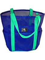 Saltwater Canvas Family Mesh Whale Bag, Sand & Waterproof base, 9 pockets, Blue