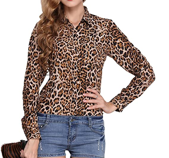 f5692992dbbe64 YYG Womens Leopard Printed Chiffon Long Sleeve Button Down Shirt at Amazon  Women's Clothing store: