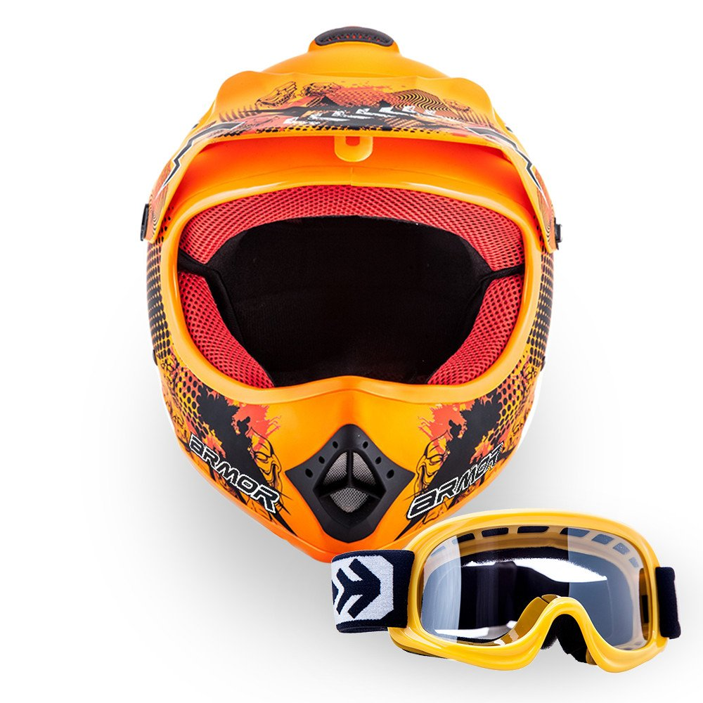 "/· Kinder-Cross Helm /· Motorrad Enduro Off-Road Kinder Moto-Cross Sport /· DOT certified /· Click-n-Secure/™ Clip /· Tragetasche /· M 55-56cm Rot Armor /· AKC-49 Set /""Red/"""