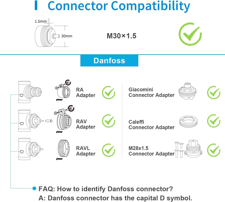 Compatible con Alexa y Google Termostato de Radiador Inteligente Termostato 6 Adaptadores y HUB Incluidos. Funci/ón de Detecci/ón de Ventanas M30*1.5mm Control de Calefacci/ón Inteligente