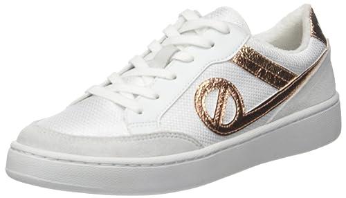 No Name ENKNAQ0402 - Zapatillas de Deporte de Piel sintética Mujer, Blanco (Blanco (White/Pink 02)), 40 EU: Amazon.es: Zapatos y complementos