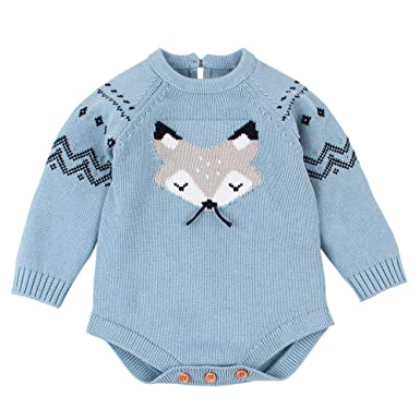 Amazon.com: Newborn Infant Baby Girl Knitted Sweater Fox Romper ...