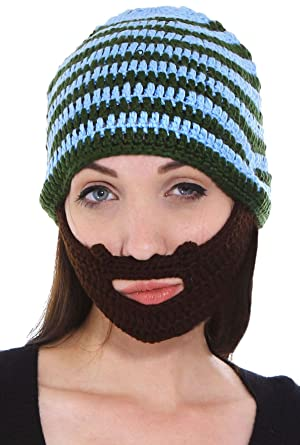 Simplicity Unisex Mustache Mask Face Warmer Ski Hat Cap with Attched Beard 105ce3041fd