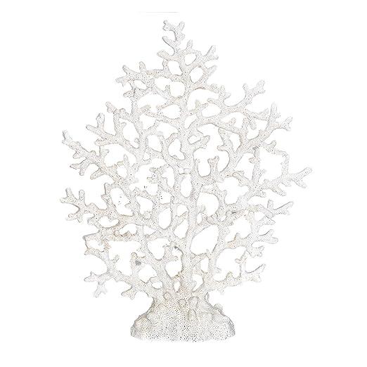 Christmas Tablescape Decor - White faux spongy sea fan coral tabletop decoration