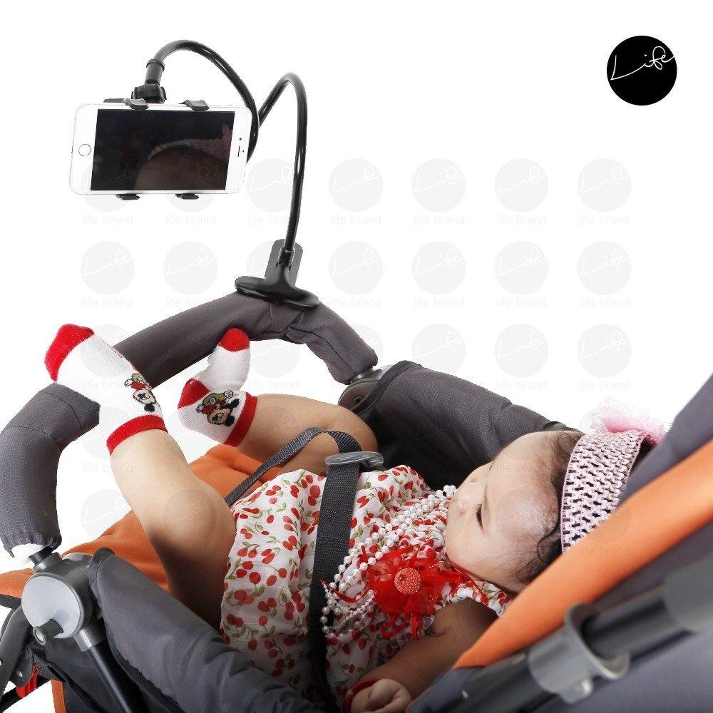 Handphone Holder Stoller Seat Attachment With 4 Baby Bibs Car Clip Hands-Free Clip Mommy Bendy Helper Feeding Handphone Bend Arm Armz Hand LIFE