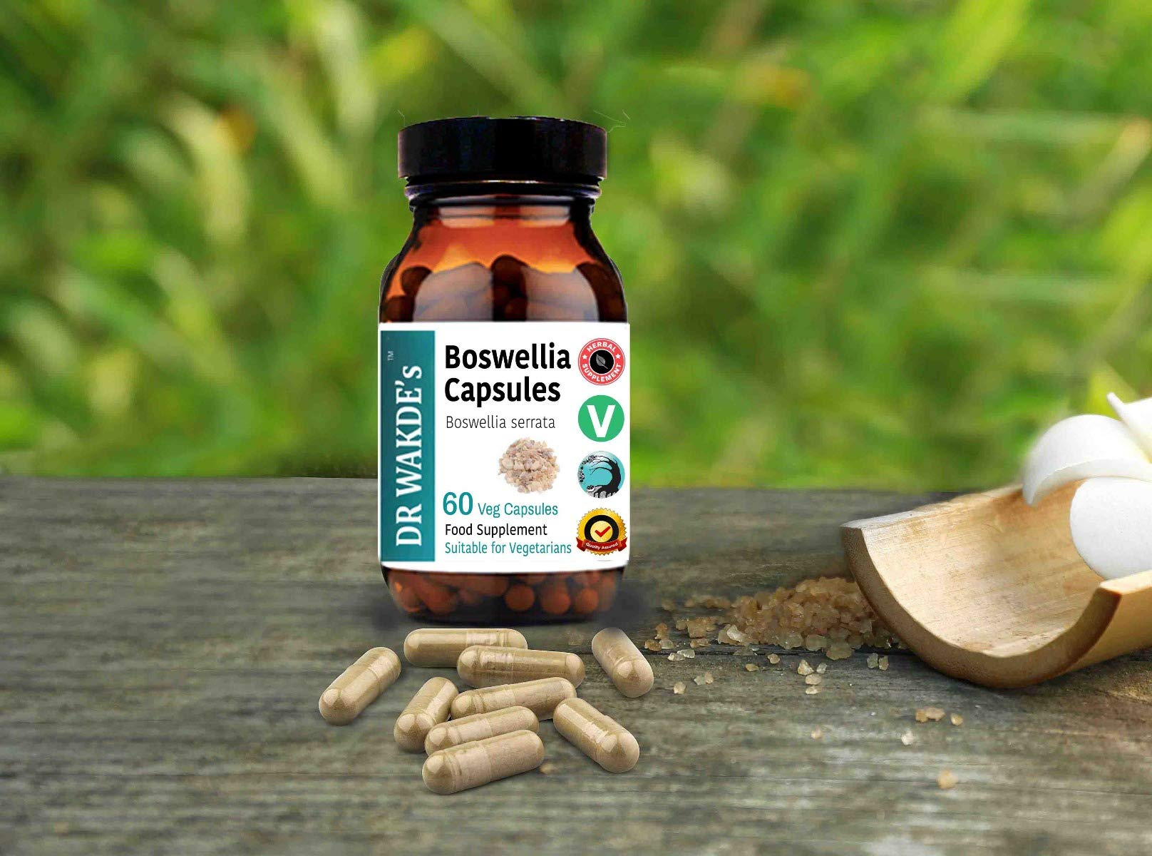 DR WAKDE'S® Boswellia Capsules (Salai Guggul/Shallaki) I 100% Herbal I 60 Veggie Capsules I Ayurvedic Supplement I FREE SHIPPING on multiples I Quantity Discounts I Same Day Dispatch by DR WAKDE'S® Natural Health Care, London