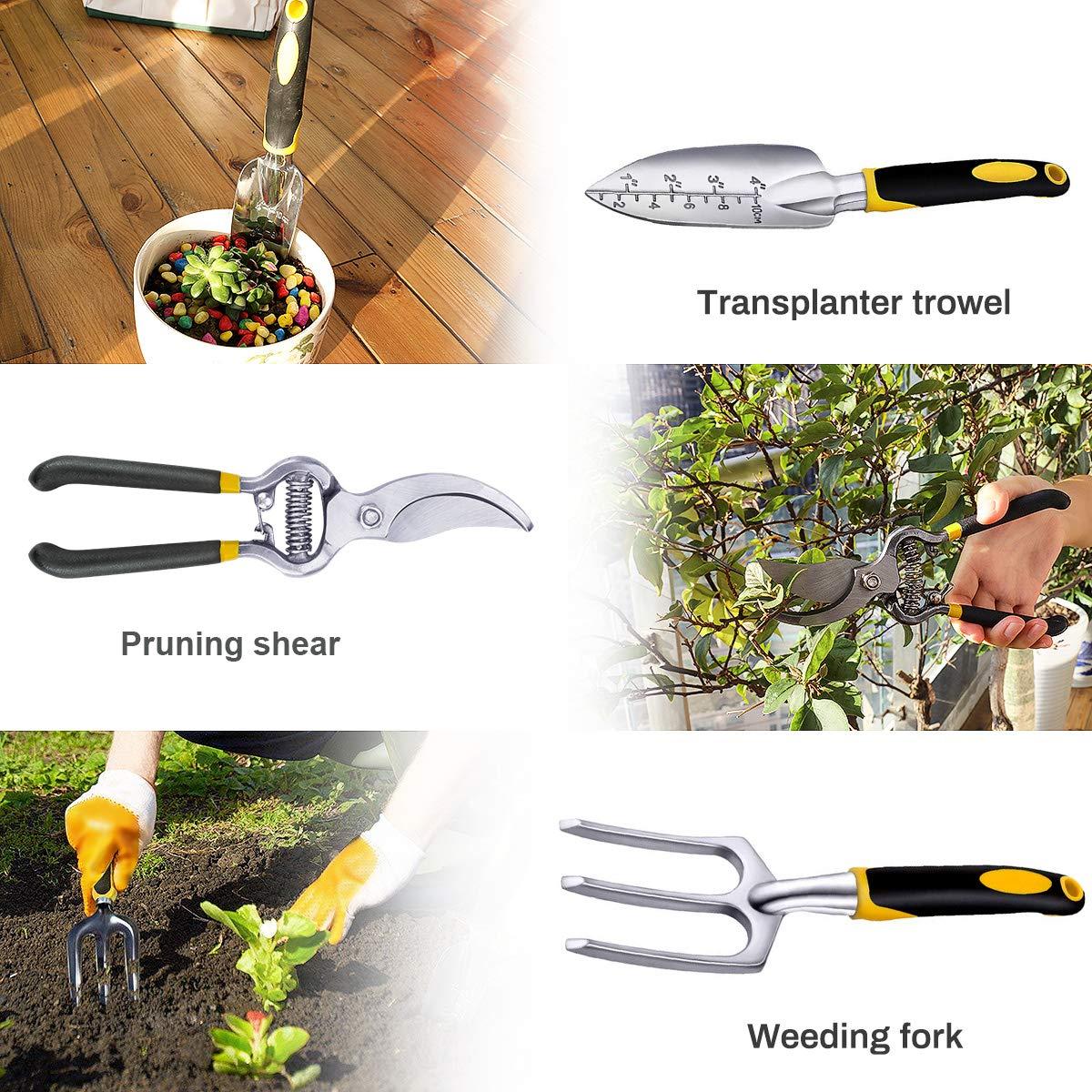 Powcan Garden Tools Lot de 9 Outils de Jardinage avec Sac de Rangement Anti-acariens Argent/é