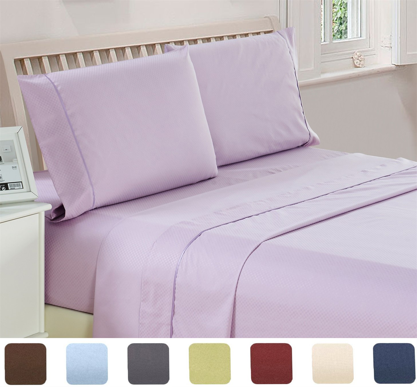 4 Piece Deep Pocket 1800 Series Bed Sheet Set King, Lavender