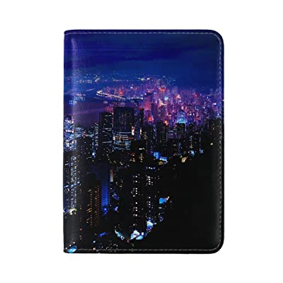 Night City Sky Skyscrapers Leather Passport Holder Cover Case Travel One Pocket