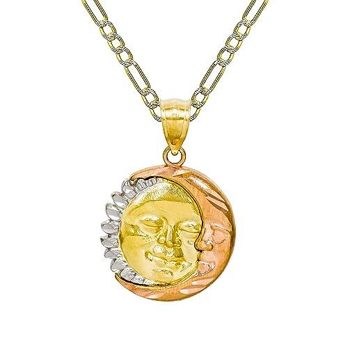 1acbdc6931d5 Pyramid Jewelry Collar con Colgante de Sol y Luna de Oro de 14 K ...