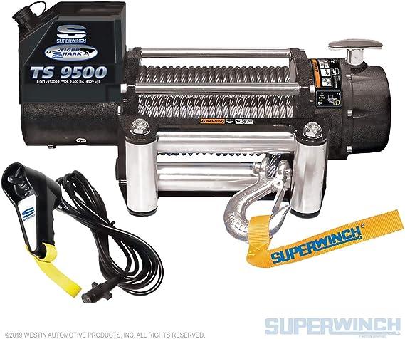 Superwinch 1595200 Tiger Shark 9 5 12 Vdc Winch 9 500 Lb 4 309 Kg Capacity With Roller Fairlead Automotive Amazon Com