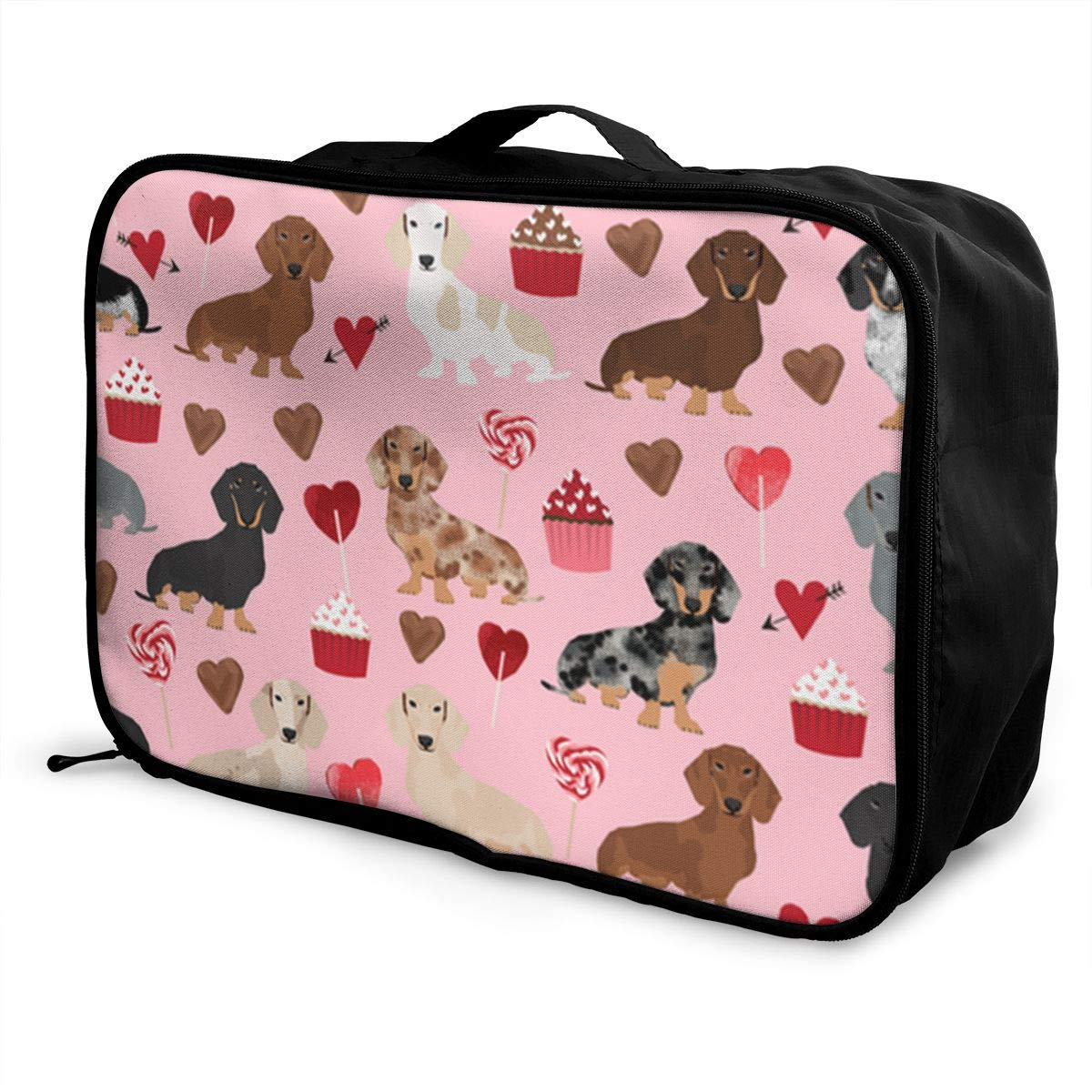 ADGAI Pink Cake Dachshund Canvas Travel Weekender Bag,Fashion Custom Lightweight Large Capacity Portable Luggage Bag,Suitcase Trolley Bag