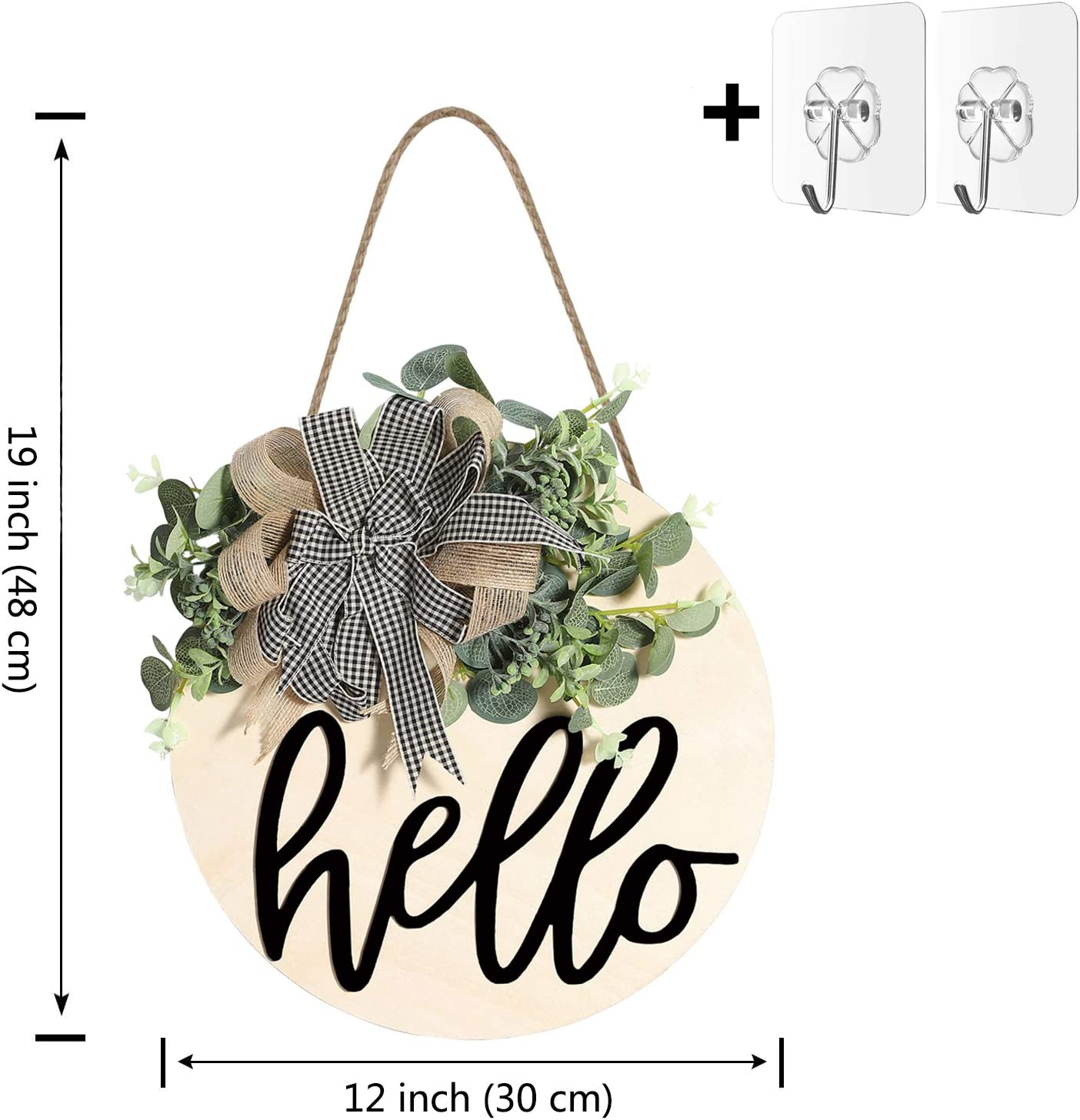 Outdoor Welcome Sign Wooden Hanging Sign for Front Porch Wreaths for Front Door Decorations for Christmas,Restaurant Home