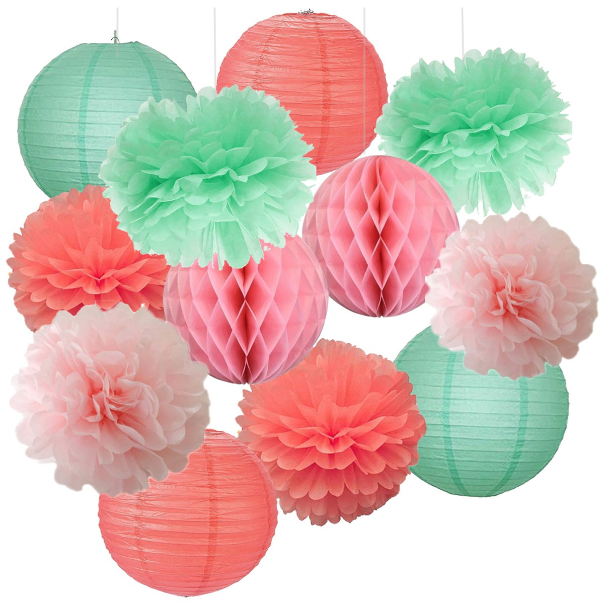 12pcs Mixed Baby Pink Coral Mint Party Tissue Pom Poms Hanging Paper ...