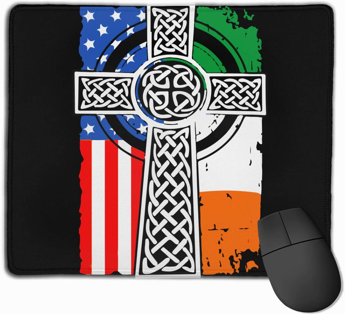 Non-Slip Rubber Base Mousepad for for Computers Laptop Irish American USA Flag Celtic Cross St Patricks Day Mouse Pad with Stitched Edge Office /& Home