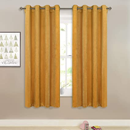 Room Darkening Gold Velvet Curtains