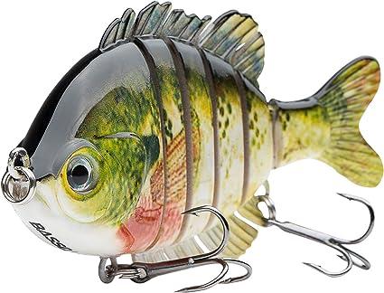 Amazon Com Bassdash Swimpanfish Multi Jointed Panfish Bluegill Swimbaits Topwater Hard Bass Fishing Crank Lure 3 5in 0 85oz 4 Colors Bluegill Sports Outdoors