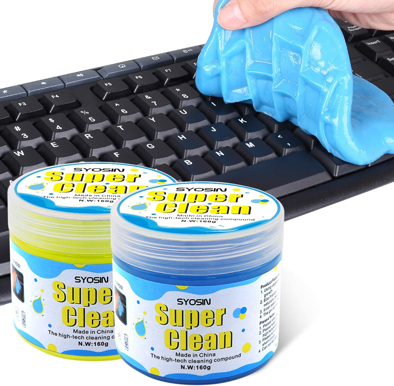 SYOSIN 2PCS Keyboard Cleaner Universal Dust Cleaning Gel Dirt Bacteria Cleaner for Laptops, Car Vents, Printers, Calculators
