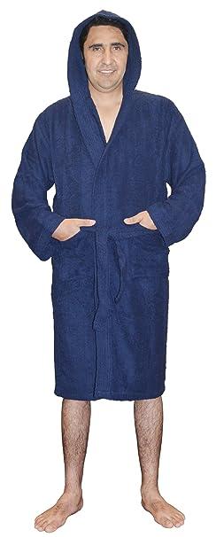 Skylinewears Hombres 100% Terry Algodón Encapuchado Albornoces Suave Terry Tela de Toalla Batas Bañera Vestir
