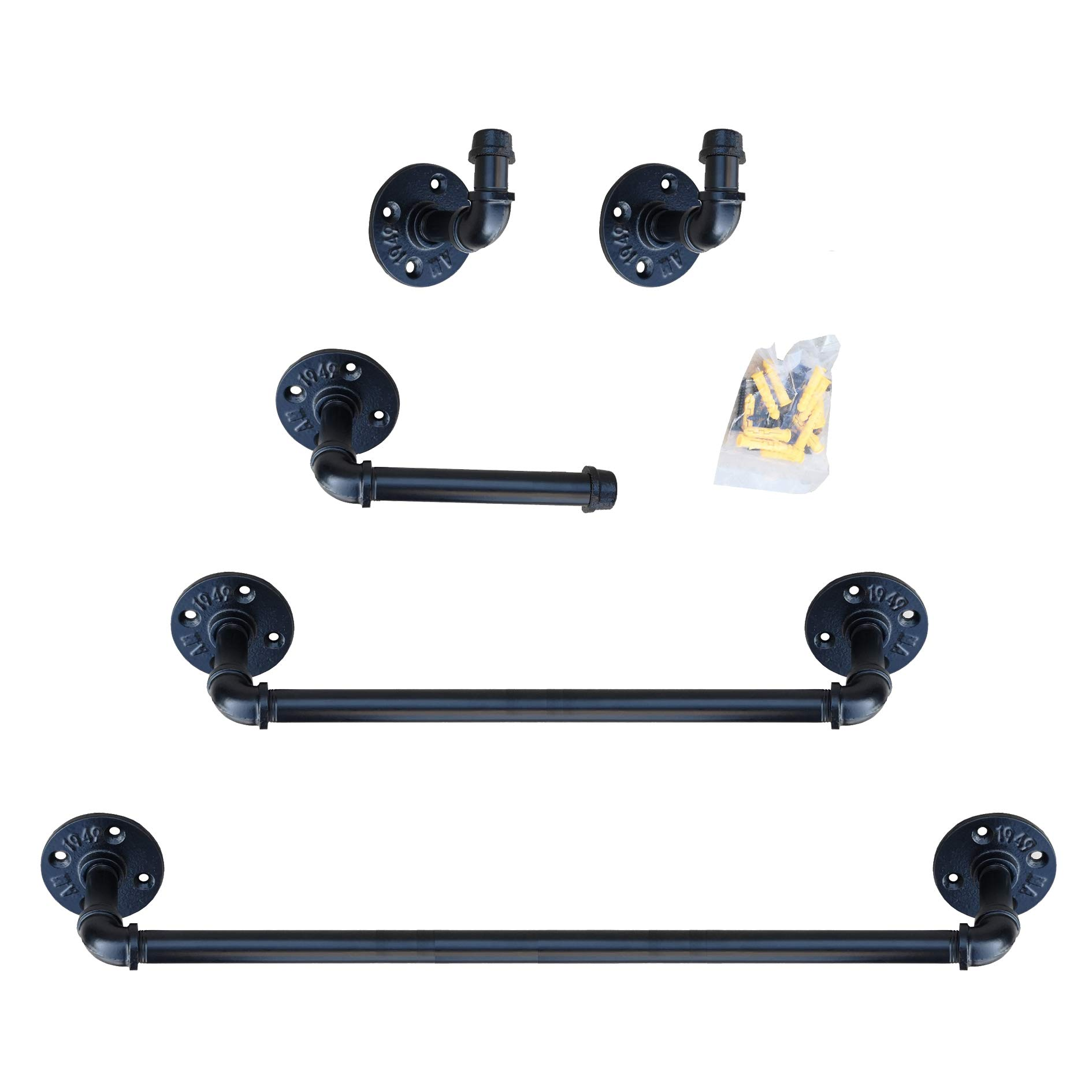 Industrial Pipe Bathroom Hardware Fixture Set | Bathroom Accessories Set - 5-Piece Kit Includes Robe Hook, 24 & 18 Inch Bath Pipe Towel Rack Bar and Toilet Paper Holder,Coated Finish