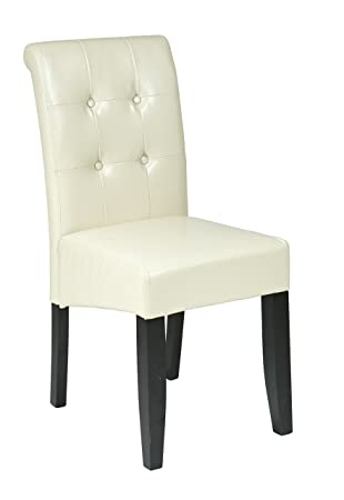 Awesome OSP Designs MET88CM Cream Bonded Leather Parsons Chair